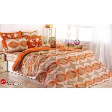 ชุดเครื่องนอนชุดเครื่องนอนลายกราฟฟิควงกลม สีส้มขาว พื้นสีน้ำตาล TOTO ผ้าปูที่นอน ผ้านวมโตโต้ TT459