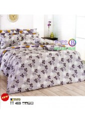 ชุดเครื่องนอนชุดเครื่องนอนลายใบไม้ โทนสีเทาขาว TOTO ผ้าปูที่นอน ผ้านวมโตโต้ TT469