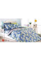 ชุดเครื่องนอนชุดเครื่องนอนลายกรอบดอกกุหลาบสีฟ้า แซมดอกไม้สีขาว TOTO ผ้าปูที่นอน ผ้านวมโตโต้ TT472