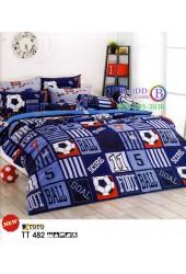 ชุดเครื่องนอนชุดเครื่องนอนลายฟุตบอล ทีมฟุตบอล โทนสีน้ำเงินเข้ม TOTO ผ้าปูที่นอน ผ้านวมโตโต้ TT482