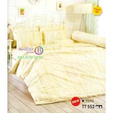 ชุดเครื่องนอนลายหลุย พื้นสีเหลือง TOTO ผ้าปูที่นอน ผ้านวมโตโต้ TT552