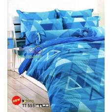 ชุดเครื่องนอนลายกราฟฟิค รูปสามเหลี่ยม โทนสีฟ้า TOTO ผ้าปูที่นอน ผ้านวมโตโต้ TT555