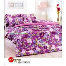 ชุดเครื่องนอนลายดอกไม้ โทนสีม่วง TOTO ผ้าปูที่นอน ผ้านวมโตโต้ TT556