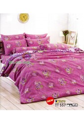 ชุดเครื่องนอนลายดอกไม้ โทนสีม่วง TOTO ผ้าปูที่นอน ผ้านวมโตโต้ TT557