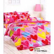 ชุดเครื่องนอนลายหัวใจคละสีโทนสีชมพู TOTO ผ้าปูที่นอน ผ้านวมโตโต้ TT558