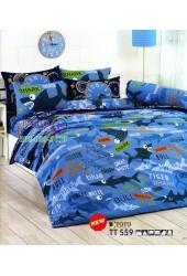 ชุดเครื่องนอนลายเบบีชาร์ค Baby Sharkโทนสีน้ำเงิน TOTO ผ้าปูที่นอน ผ้านวมโตโต้ TT559