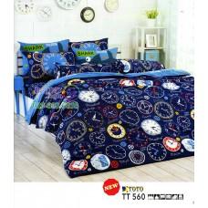 ชุดเครื่องนอนลายนาฬิกาโทนสีน้ำเงิน TOTO ผ้าปูที่นอน ผ้านวมโตโต้ TT560