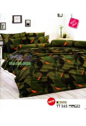 ชุดเครื่องนอนลายพรางทหารตัดส้ม โทนสีเขียว TOTO ผ้าปูที่นอน ผ้านวมโตโต้ TT565