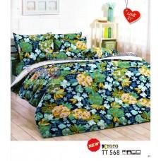 ชุดเครื่องนอนลายดอกไม้ โทนสีเขียว TOTO ผ้าปูที่นอน ผ้านวมโตโต้ TT568