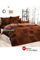 ชุดเครื่องนอนลายใบไม้ โทนสีน้ำตาล TOTO ผ้าปูที่นอน ผ้านวมโตโต้ TT570