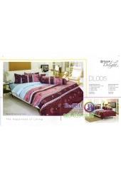 ชุดเครื่องนอนพิมพ์ลายพื้นฟ้า แดงเข้ม Tulip Delight ผ้าปูที่นอน ผ้านวมทิวลิป ดีไลท์ DL005